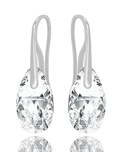 Sterling Silver 925 Made with Swarovski Crystals Clear Teardrop Pierced Earrings (Clear Crystal Swarovski Earrings)