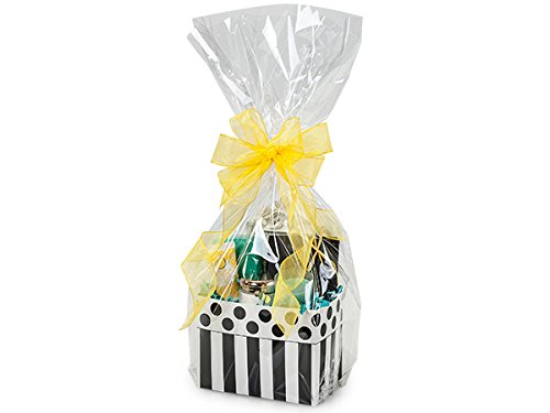 A1BS Clear Cello Cellophane Bags Gift Basket Package Flat Gift Bags (14 In X 24 In)