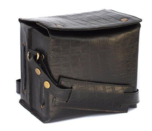 Genuine Leather Bag for Canon EOS 5D Mark 3 22.3MP DSLR Camera  #Cube_Crocodile Print