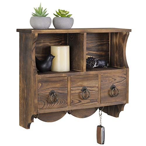 MyGift Wall-Mounted Vintage Brown Wood Cubby Shelf with 3 Drawers & Coat Hooks
