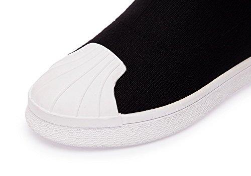 Balamasa Damesschoenen Met Oprolbaar Platform Slouch Platform Laarzen Van Stof Abl09823 Zwart