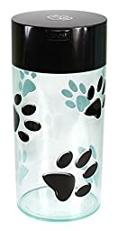 Pawvac 24 Ounce Vacuum Sealed Pet Food Storage Container; Black Cap & Clear Body/Black Paws