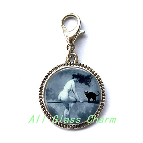 Literary Halloween Costumes - Beautiful Zipper Pull,Halloween Charming Zipper Pull - Victorian Nude Witch Riding a Broom - Witch and Black Cat - Nude Witch Zipper Pull - Halloween Costume Jewelry - Sexy Witch,AS0161