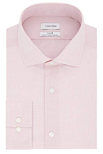 Calvin Klein Men's Dress Shirt Non Iron Stretch Slim Fit Check, Cinnabar Red, 18