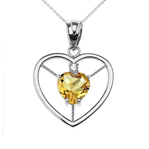 Collier Femme Pendentif Élégant 10 Ct Or Blanc Citrine et Diamant Solitaire Cœur (Livré avec une 45cm Chaîne)