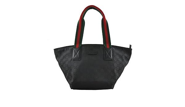 f11beafc84b0 Amazon.com: Gucci Nylon and Leather GG Logo Black Web Tote Bag 374433: Shoes