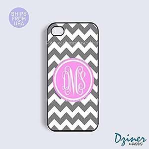 MEIMEIMonogram iPhone 5c Case - Grey White Chevron Pink Circle iPhone CoverMEIMEI