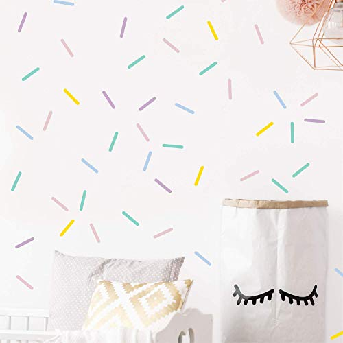 Repositionable Pastel - Pastel sprinkles wall decals, Mini bar stickers, Confetti decor, Kids room decoration, 100 pcs