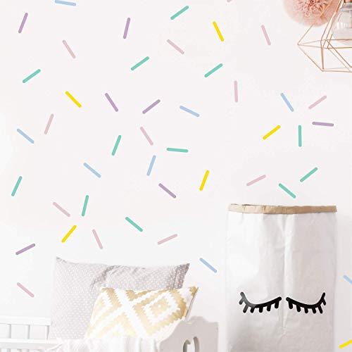 Pastel sprinkles wall decals, Mini bar stickers, Confetti decor, Kids room decoration, 100 ()