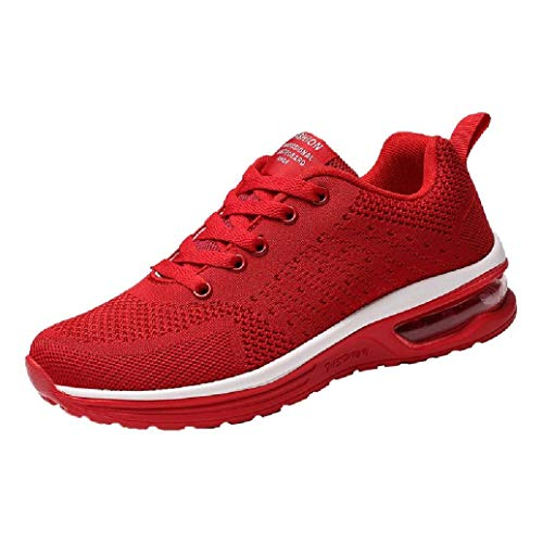 UOKNICE Couple Models Flying Woven Mesh Shoes Lace-up Casual Running Shoes Gym Student Sports Sneaker(Red, CN 39(US 7)) for $<!--$20.99-->