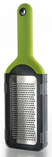 Simposh Fine Grater - Green/Gray Handheld for grating/zesting citrus fruit hard cheese garlic spice vegetable chocolate. Sharp Stainless Steel Blade, Soft Ergonomic Handle, Safety Cover Food Container