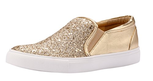 Sofree Women's Fashion Slip On Glitter Comfortable Sneakers Flat Shoes Gold