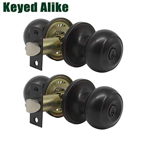 Probrico (2 Pack) Entrance Knob Oil Rubbed Bronze, Entry Door Knobs Combo Pack, Keyed Alike Lockset Handleset for Interior and Exterior Door Hardware