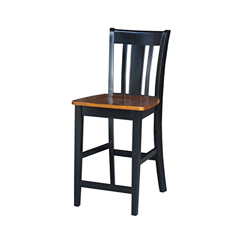 International Concepts S57-102 San Remo Counter Height Stool, Black/Cherry, 24-Inch