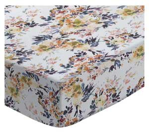 SheetWorld Fitted Cradle Sheet 18 x 36 - Modern Floral Garden Gray - Made in USA SHEETWORLD.COM CR-W1147