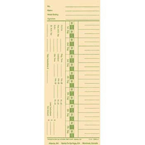Lathem 1900L-C Time Cards - Single Sided, Weekly
