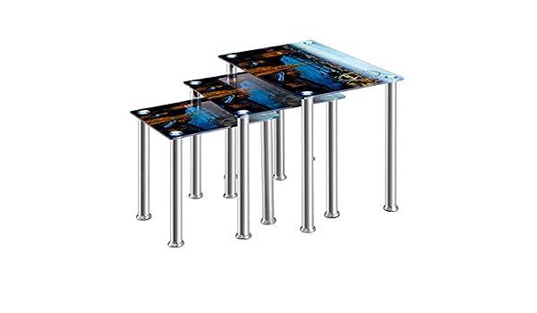 Furniture Express - Mesas nido de cristal con impresión de Londres: Amazon.es: Hogar