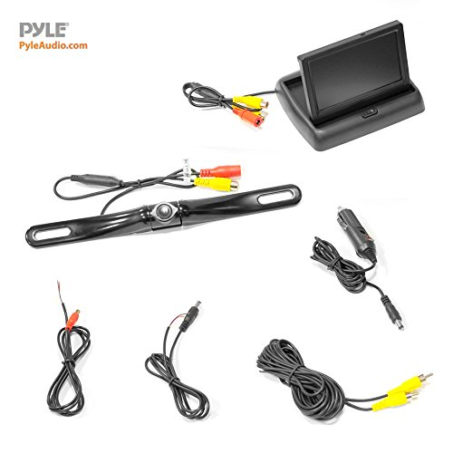 """Pyle Rear Car Monitor Screen System & Reverse Distance Lines, Waterproof, Night Pop-up 4.3"""" LCD Video Display Vehicles"""