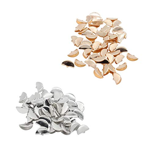CUTICATE 200 Pieces Half Round Ribbon Crimps Cord End Caps Clasps DIY Jewelry Making 20mm