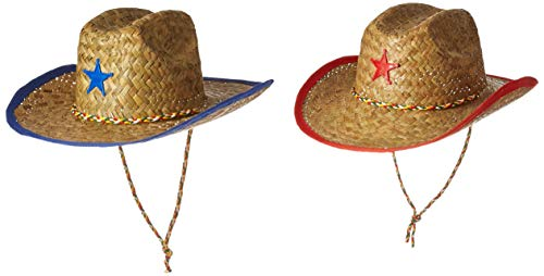 Fun Express Childs Straw Cowboy Hat with Plastic Star - 12 Pieces]()