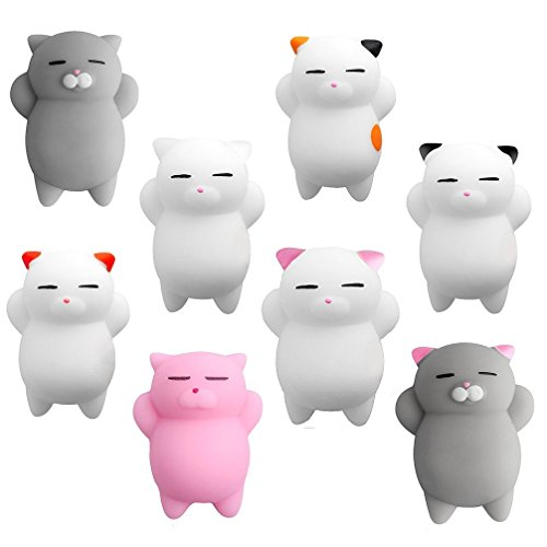 Aismart Squishies 8 Pcs Kawaii Squishy Toys Kawaii Squishy Cats Stress Reduce Mochi Squishy Animals