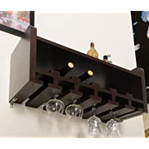 Furniture of America Enitial Lab Venire Wall-Mounted Wine Rack and Glass Holder, Walnut