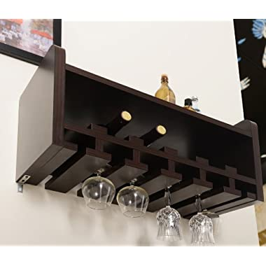 ioHOMES Venire Wall-Mounted Wine Rack and Glass Holder, Walnut