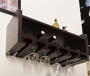 ioHOMES Venire Wall-Mounted Wine Rack and Glass Holder, Walnut
