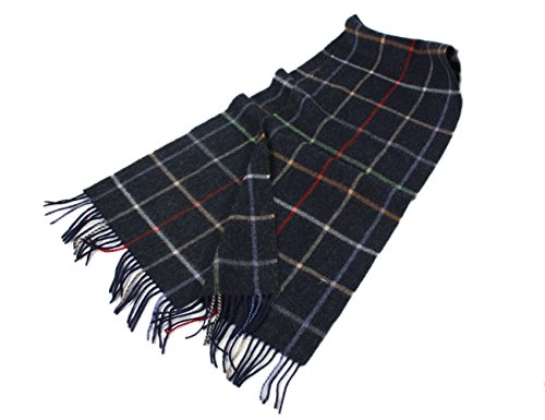 "Irish Wool Scarf Lambswool Navy Plaid 63"" x 12"" Made in Ireland by John Hanly (Image #8)"