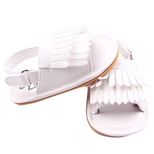 La Vogue Sandalias Bebé Zapatos Primeros con Borlas Blanco Talla12/11.5cm