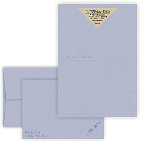 5X7 Folded Size with A-7 Envelopes - Blue Violet Fiber - 50 Sets (7X10 Cards Scored to Fold in Half) Blank Pack -Invitations, Greeting, Thank Yous, Notes, Holidays, Weddings, Birthdays -80# Cardstock