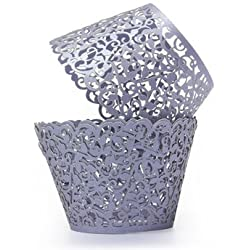 Cup Cake Wrappers - Cupcake Wrap - Wedding Party Supplies - 12Pcs Baking Arts Hollow Cup Cake Wrapper Cups Muffin Paper Cup Cake Cups(Violet)