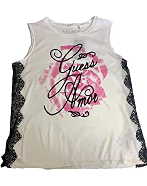 Guess, Sleeveless Side Lace Rose Tank, Ivory, S