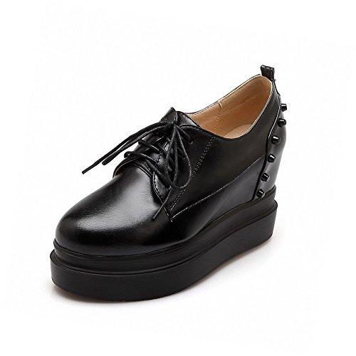 Con Amoonyfashion Rotonda Delle Talloni Alti scarpe Donne Nero Pompe Chiusa Stringate Solide Rivetti Punta wP4qUnWYxY