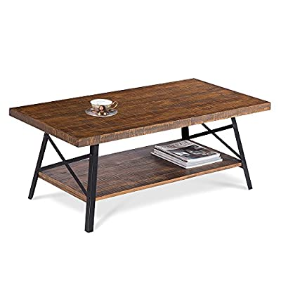 """PrimaSleep PR18TB01S 46"""" W Solid Wood Top & Steel Legs Cocktail Coffee Sofa Dining Garden Table, Rustic Brown - Easy assembly: just screw in the bolts and it's done Sturdy Construction: solid pine wood Top and strong steel legs for durability Stylish design: fit for any room or yard - living-room-furniture, living-room, coffee-tables - 41jUxK1fwrL. SS400  -"""