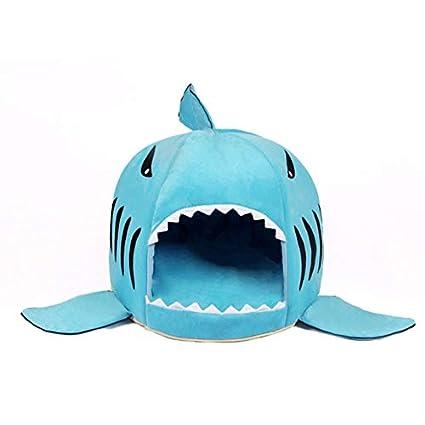 Candybush Único Boca de tiburón en Forma de Mascotas Cama del Perro Suave cálida casa de