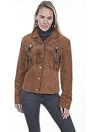 Womens Boar Suede Fringe Beaded Jacket