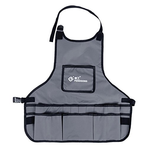 Tool Apron Professional Work Apron with 14 Tool Pockets,Fully Adjustable,Waterproof & Protective,Gardener Tool Storage Apron Holder,Convenient Work Organizer(1pc) (灰色) by Walfront