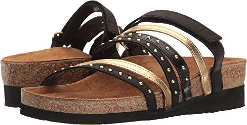 - Naot Footwear Women's Prescott Oily Coal Nubuck/Gold Leather/Black Madras Leather Sandal