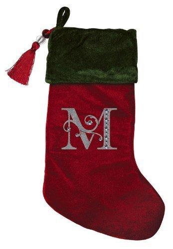 Christmas Stocking Red & Green Velvet With Tassel, Rhinestone Monogram M