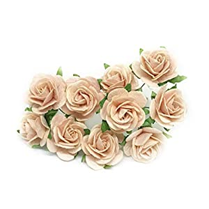 """1"""" Blush Pink Paper Flowers Paper Rose Artificial Flowers Fake Flowers Artificial Roses Paper Craft Flowers Paper Rose Flower Mulberry Paper Flowers, 20 Pieces 5"""
