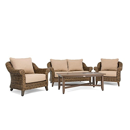 Oak Set Loveseat - Blue Oak Outdoor Bahamas 4PC Patio Furniture Conversation Set (Loveseat, Coffee Table, 2 Lounge Chairs)  with Sunbrella Canvas Heather Beige Cushions