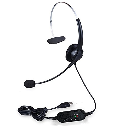 Chunnuan USB Call Center Customer Service Headset Mounted Mic Earpiece Speaker Operator (Headset For Customer Service compare prices)