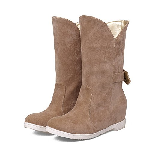 Frosted Pull Boots Closed Camel WeiPoot Heels On Toe Round Women's Kitten Solid Rv8xxwqH0