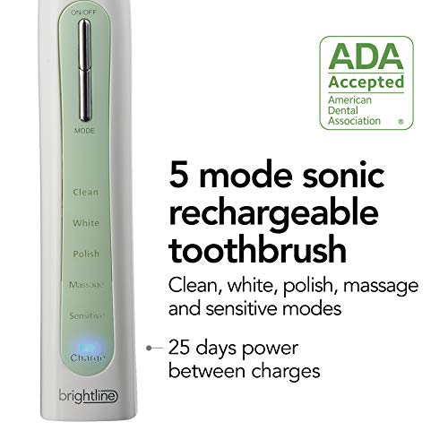 Brightline Rechargeable Sonic Electric Toothbrush, ADA Accepted, With Five Cleaning Modes, Built-In Timer, Mint green (86710)
