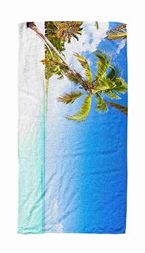 EMMTEEY Bath and Beach Towel,Panoramic Ocean Palm Tree Beach as Wild Nature Scenery in Republic a Punta Cana Dominican 30x60Inch Microfiber Oversized Large Quick Dry Swimming Pool Towel,Ivory Black