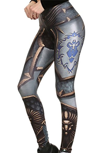 (COCOLEGGINGS Lady High Rise Domineering Armor Digital Print Workout Leggings Free Size)