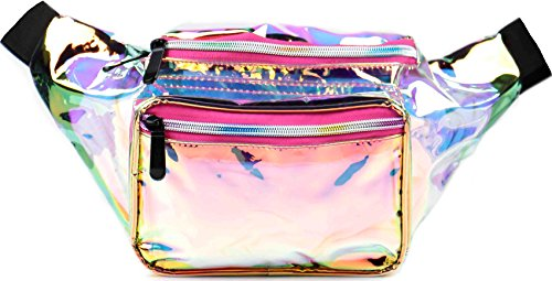 SoJourner Bags Outer Space Galaxy Rave Festival Fanny Pack (Transparent - Pink)