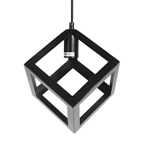 Wrought Iron Pendant Light by Kshioe, Polyhedron Vintage Metal Chandelier Industrial Lighting (Iron Square Pendant)
