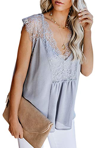 Arainlo Womens Ladies Casual Crochet Lace V Neck Tank Tops Loose Fitting Sleeveless Tunic Blouses Grey S ()
